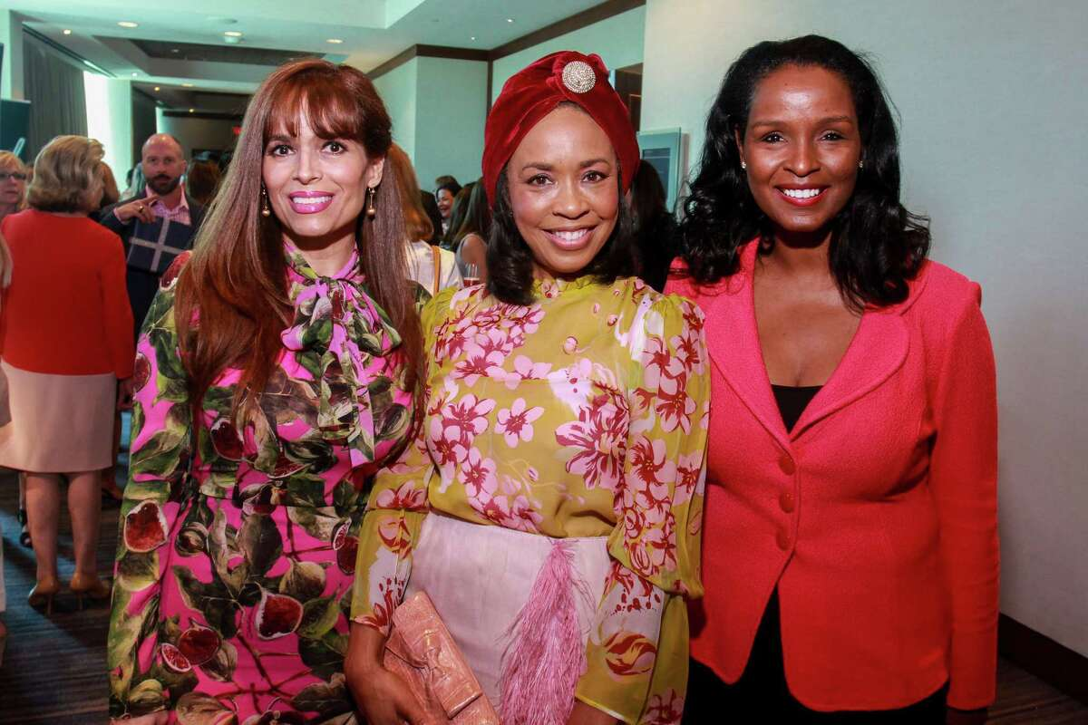 Karina Barbieri, from left, Gina Gaston and Winell Herron at the Razzle Dazzle, Memorial Hermann's annual breast cancer luncheon.