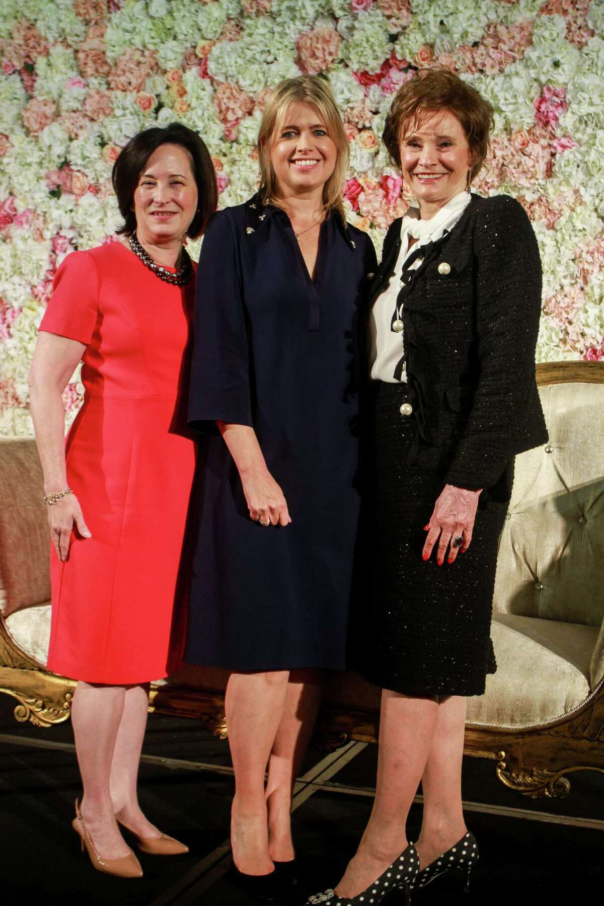 Anne Neeson, CEO of Memorial Hermann Foundation, from left, British designer Jenny Peckham, and chair Bobbie Nau at the Razzle Dazzle, Memorial Hermann's annual breast cancer luncheon.