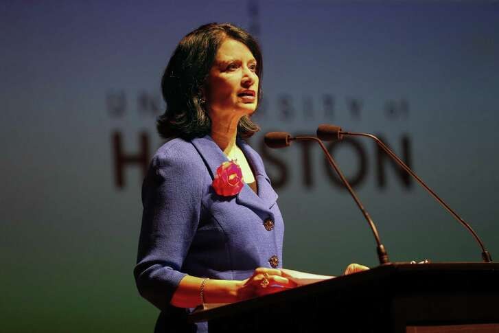University of Houston President Renu Khato delivered her Fall Address in the Moores Opera House Wednesday, Oct. 10, 2018, in Houston.