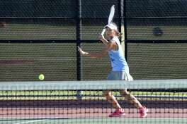 Chloe Ku of Clements prepares to return a volley in a girls doubles match against Seven Lakes on October 24, 2017 at Seven Lakes High School, Katy, TX.