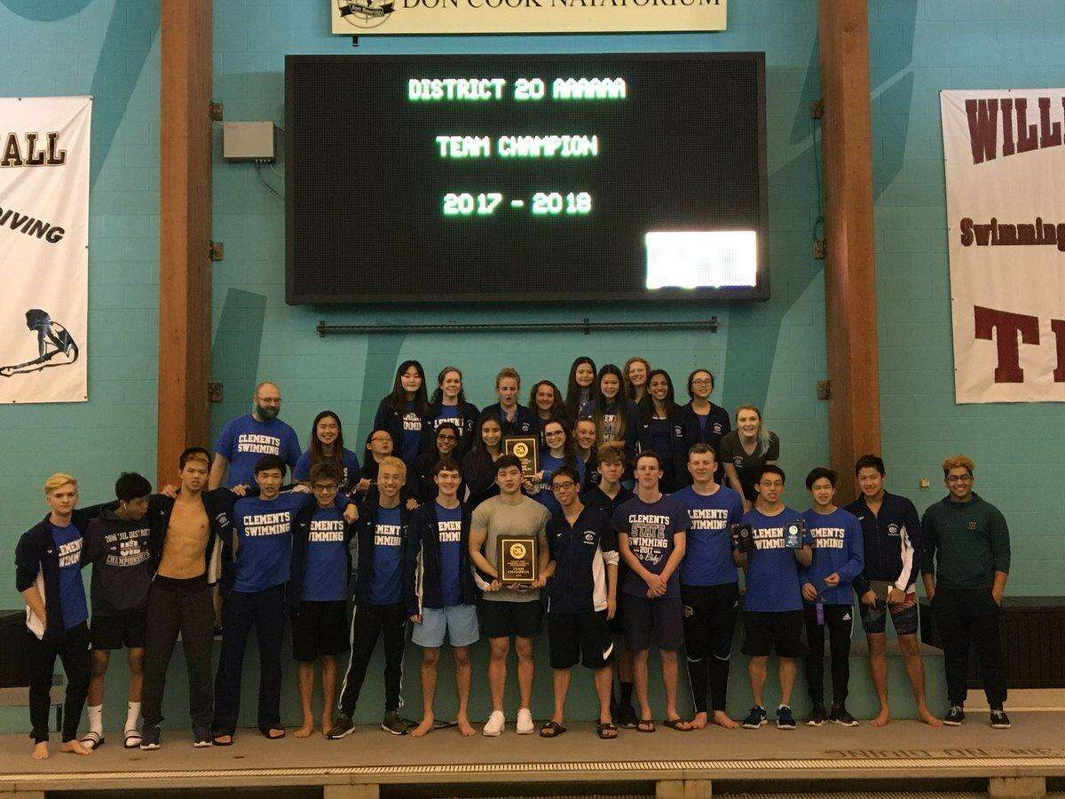 The Clements swimming teams repeated as District 20-6A champions Jan. 27 at Don Cook Natatorium. The Rangers amassed 184 points to lead the girls standings, with the boys scoring 180.