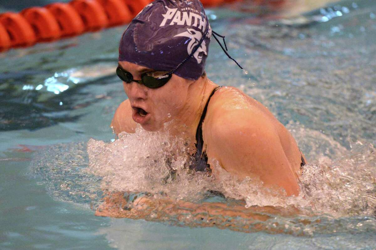 Bobbi Kennett of Ridge Point HS swims to a second place finish in the girls 100 yard breastroke at the UIL Conference 5-6A Regional Swimming and Diving Championship on February 4, 2017 at the Don Cook Natatorium, Sugar Land, TX.
