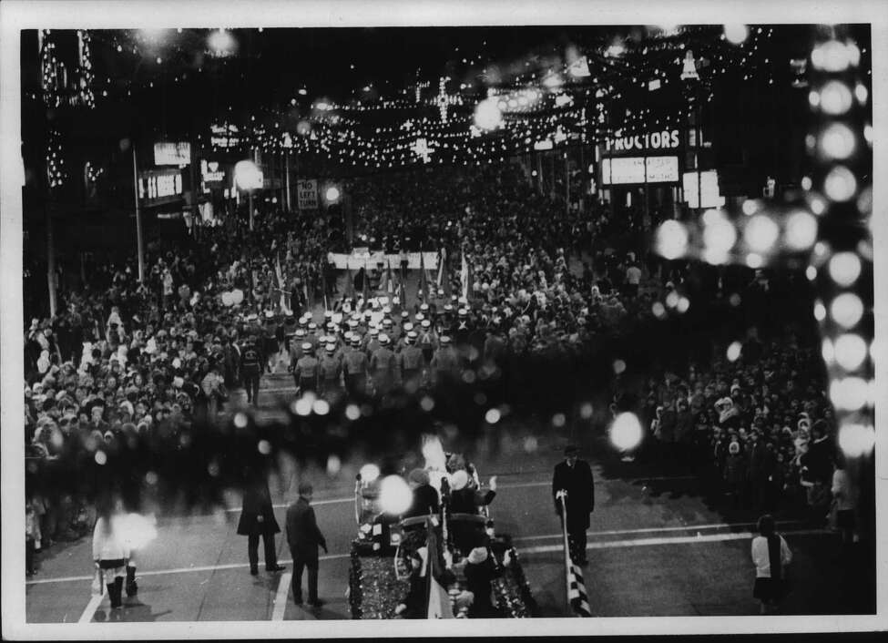 Christmas parade passes through downtown Schenectady, New York. 1970. (Paul D. Kniskern Sr./Times Union Archive)