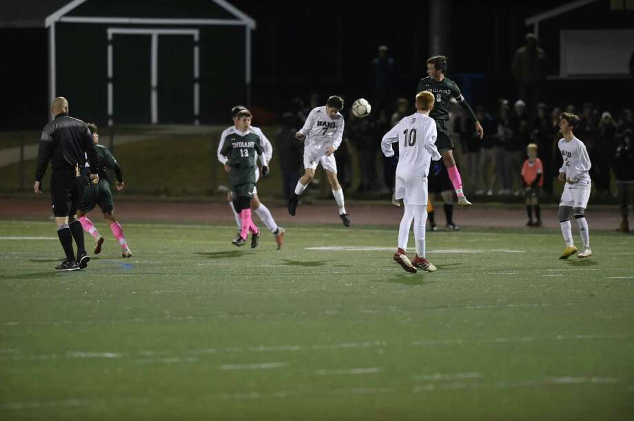 Guilford, Connecticut - Monday, October 22, 2018: Guilford High School vs. Daniel Hand H.S. of Madison first-half boys soccer action Monday evening at Guilford H.S. Final Score: 1-1 Tie. Photo: Peter Hvizdak / Hearst Connecticut Media / New Haven Register