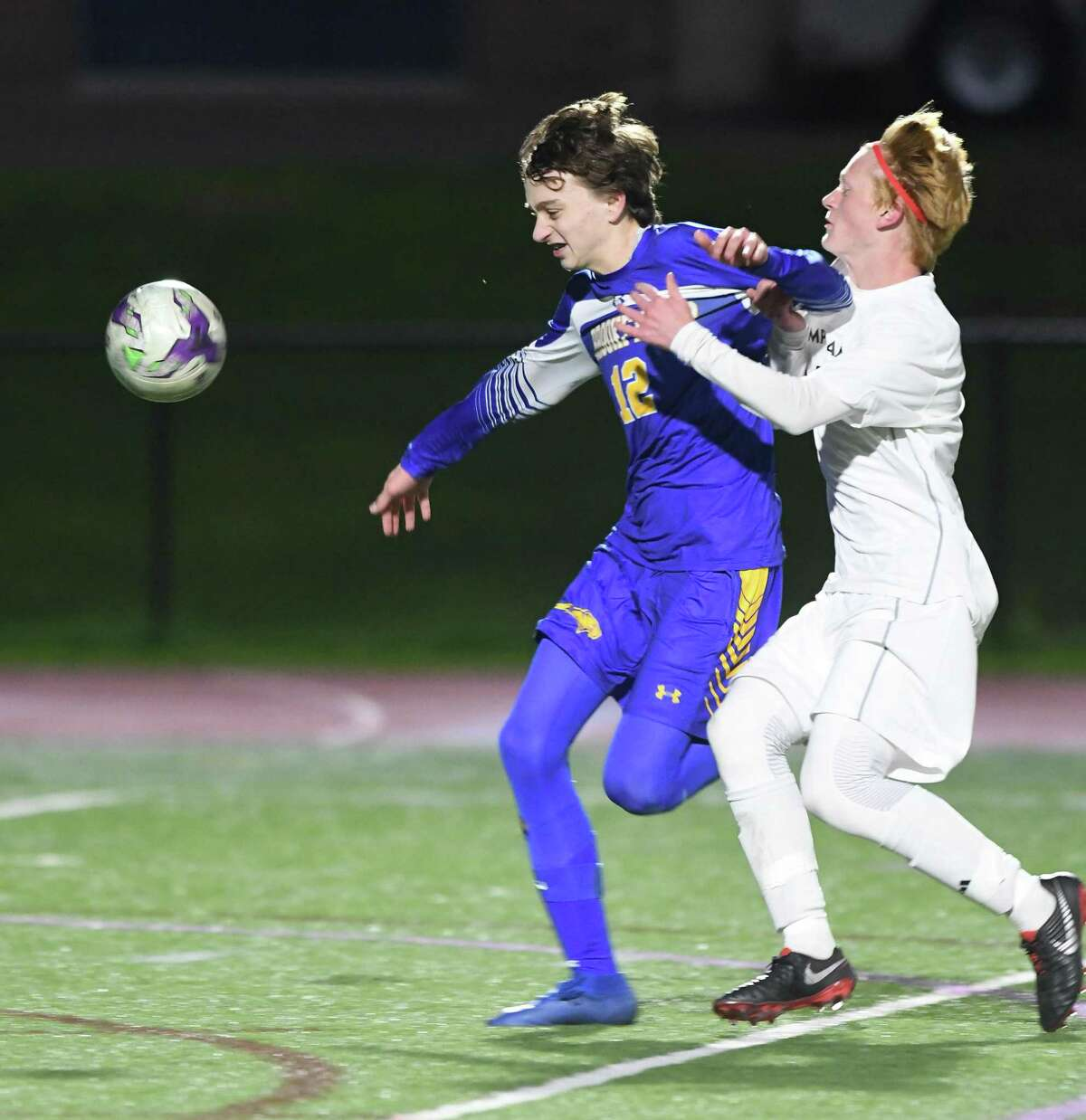 Brookfield?'s Marcus Dalton, left, and Pomperaug?'s Jack O?'Briend during the Pomperaug at Brookfield boys soccer game, Oct. 22, 2018.