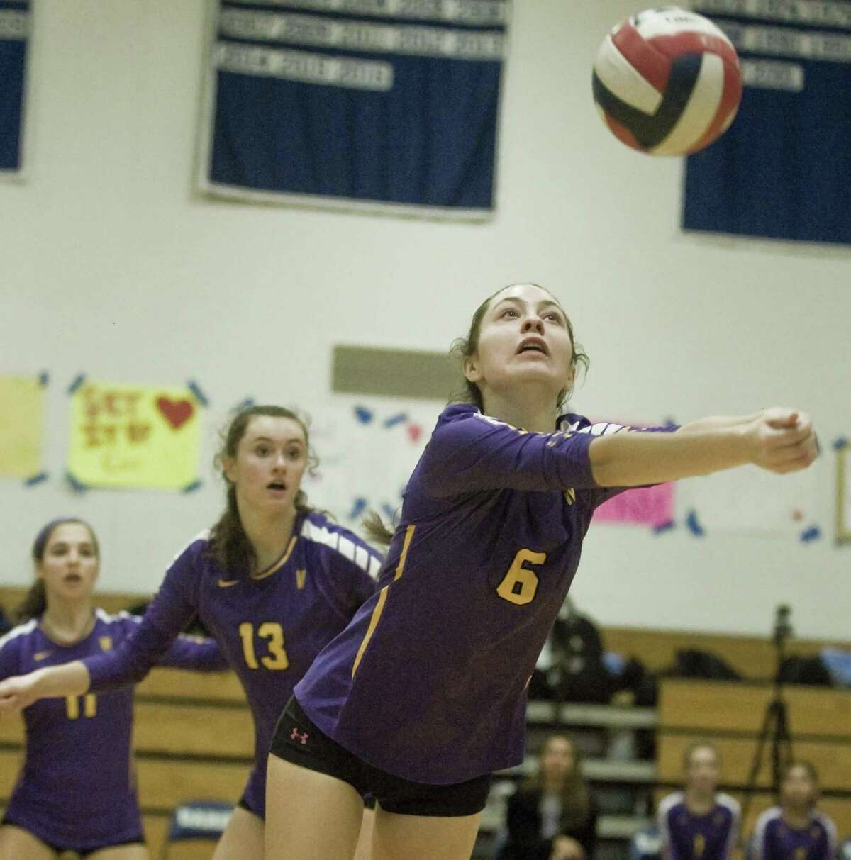 Westhill High School's Caroline Boyd returns the ball in a game against Darien High School, played at Darien. Monday, Oct. 22, 2018