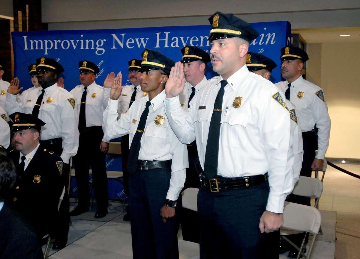 Lt. Luiz Casanova, right, is one of three finalists Mayor Ganim will evaluate for the permanent position of Bridgeport Police Chief.