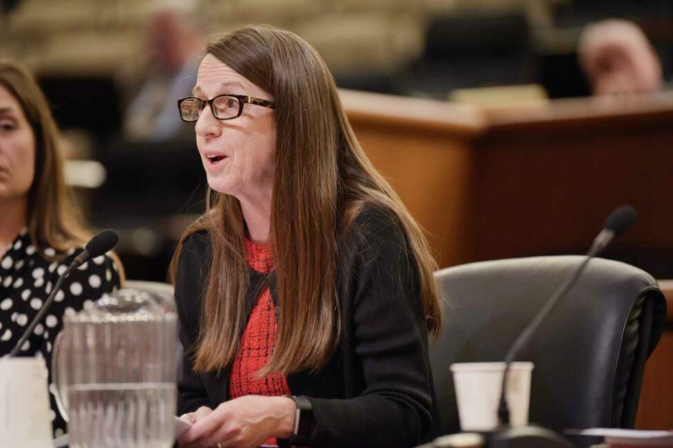 Colleen Corsi, executive director of New York State Association for Health, Physical Education, Recreation, and Dance testifies before an Assembly Standing Committee on Education during a hearing on school health, mental health and physical education at the Legislative Office Building on Tuesday, Oct. 23, 2018, in Albany, N.Y. (Paul Buckowski/Times Union)
