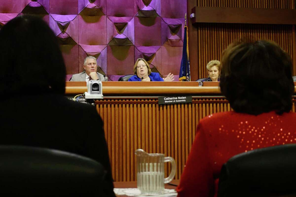Assemblymember Cathy Nolan, chair of the committee on education, addresses MaryEllen Elia, New York State education commissioner, during an Assembly Standing Committee on Education hearing on school health, mental health and physical education at the Legislative Office Building on Tuesday, Oct. 23, 2018, in Albany, N.Y. Also pictured is Assemblymember John McDonald, left, and Assemblymember Ellen Jaffee, right. (Paul Buckowski/Times Union)