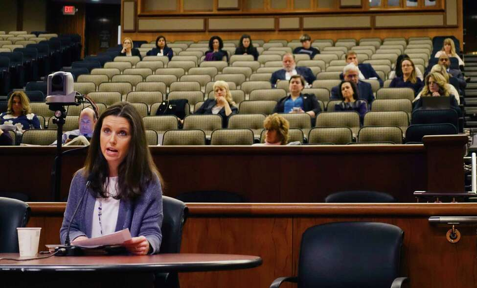 Jennifer Mead, a health educator at Waterford Halfmoom school, and president of the health council for New York State Association for Health, Physical Education, Recreation, and Dance, testifies before the Assembly Standing Committee on Education during a hearing on school health, mental health and physical education at the Legislative Office Building on Tuesday, Oct. 23, 2018, in Albany, N.Y. (Paul Buckowski/Times Union)