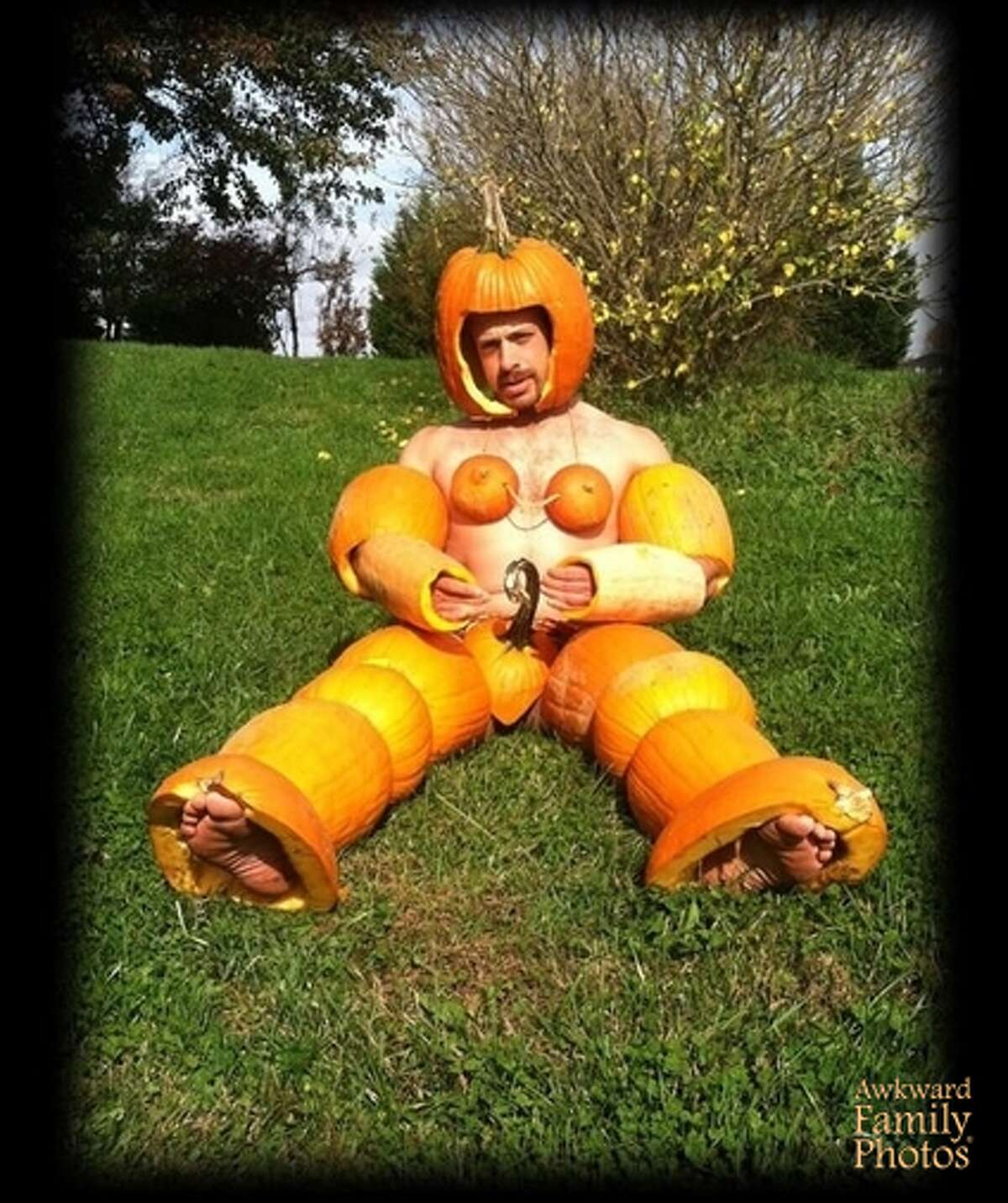 PUMPKIN SPICE: Clever costume but not easy to walk around in.