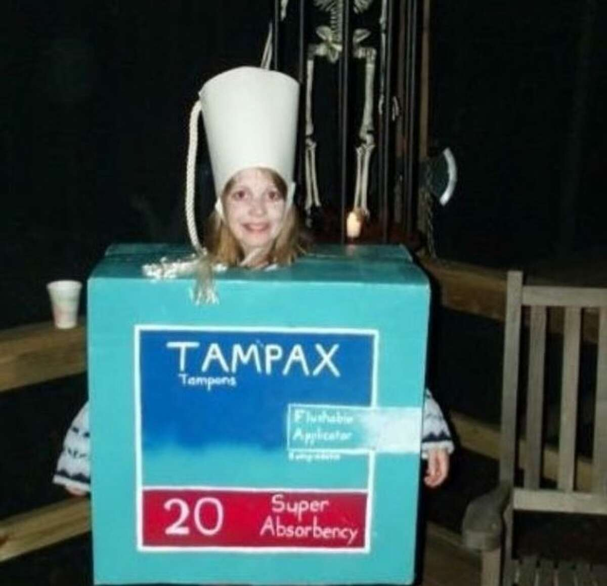 THE BEST COSTUME PERIOD: A walking Tampax box