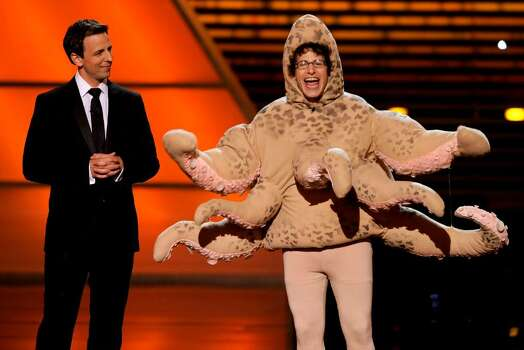 Seth Meyers, left, and Andy Samberg are seen on stage at the ESPY Awards on Wednesday, July 14, 2010 in Los Angeles. (AP Photos/Chris Pizzello) Photo: Chris Pizzello