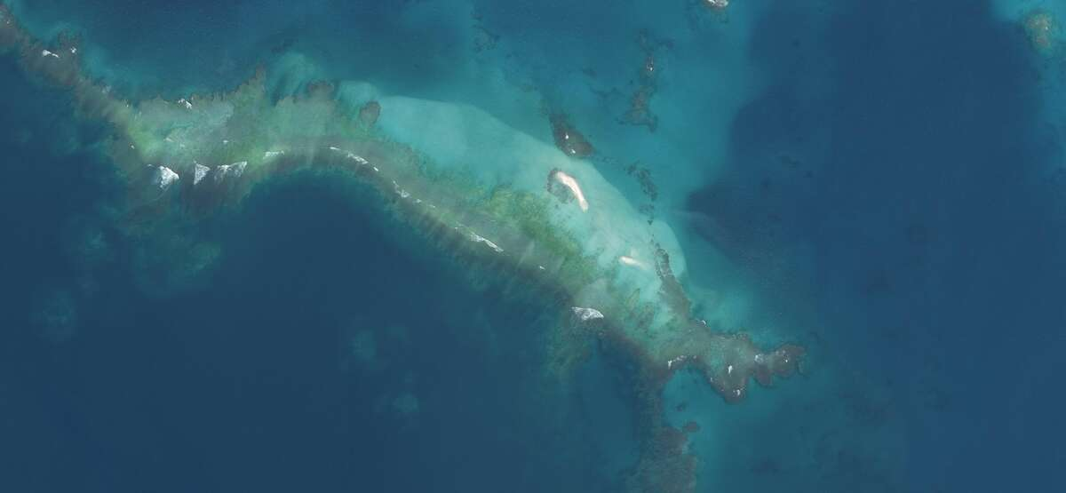 Satellite imagery shows what's left of East Island in October 2018 after Hurricane Walaka.