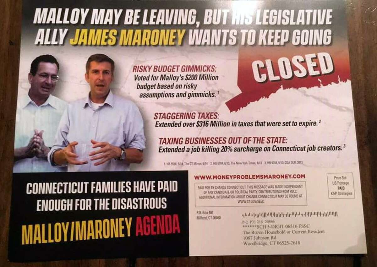 A mailer sent by Change Connecticut PAC, a political action committee spending money against Democrats running for state Senate seats.