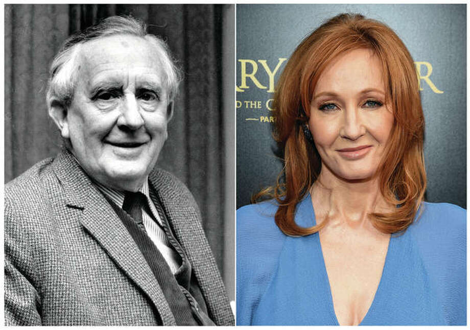 "This combination photo shows J.R.R. Tolkien, author of ""The Lord of the Rings,"" series in 1967, left, and J. K. Rowling, author of the ""Harry Potter"" series at the ""Harry Potter and the Cursed Child"" Broadway opening in New York on April 22, 2018. The effort to discover America's best-loved novel - and promote reading - will end with the winner announced on Tuesday's finale of PBS' ""The Great American Read."" The series profiled the contenders and let bookworms, famous and not, advocate for their pick. Photo: Associated Press"