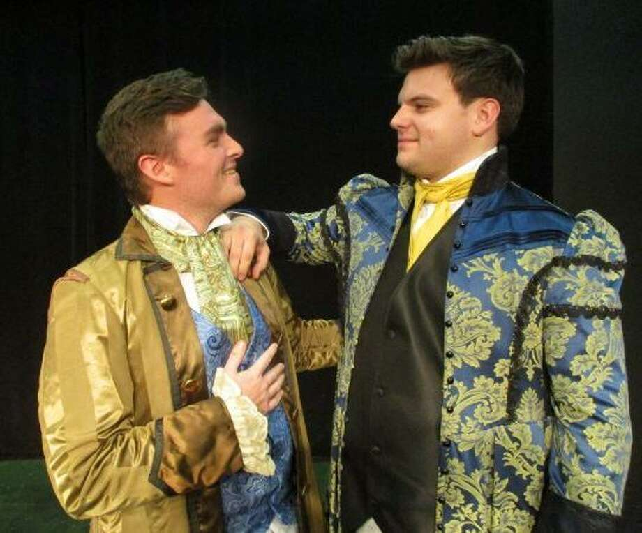 """Liam Cahill and Sean Larson star in """"The Beaux' Stratagem,"""" a play of two playboys of the 1700s and their search for wealthy heiresses. The show opens the Town Players of New Canaan's 72nd season. Photo: Cindy Ording / Contributed Photo / Connecticut Post contributed"""
