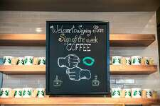 A sign is shown on Monday, Oct. 22, 2018 at Starbucks first U.S. Signing Store in Washington D.C. (Joshua Trujillo, Starbucks)
