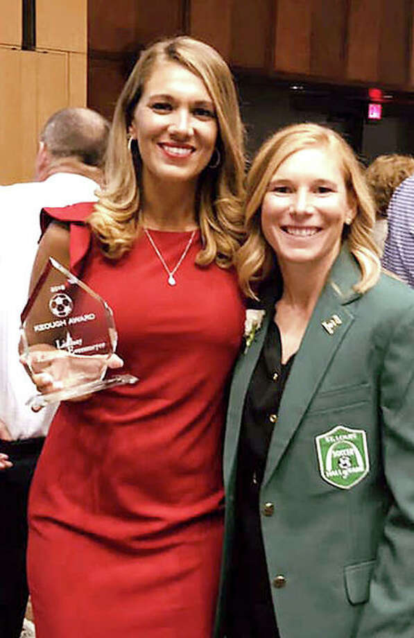 Left, Alton native and Keough Award winner Lindsay Kennedy-Eversmeyer, left, and St. Louis Soccer Hall of Fame 2018 inductee Lori Chalupny Lawson at Saturday banquet in St. Louis. Chalupny Lawson is a five-time winner of the Keough Award. Right: Edwardsville grad and STL FC player Sam Fink was the recipient of the men's Keough Award.