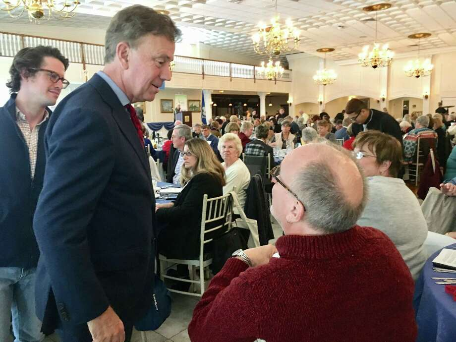 Democrat Ned Lamont, left, at the fall luncheon of the Association of Retired Teachers of Connecticut on at the Aqua Turf in Southington on Tuesday. Photo: Dan Haar / Hearst Connecticut Media