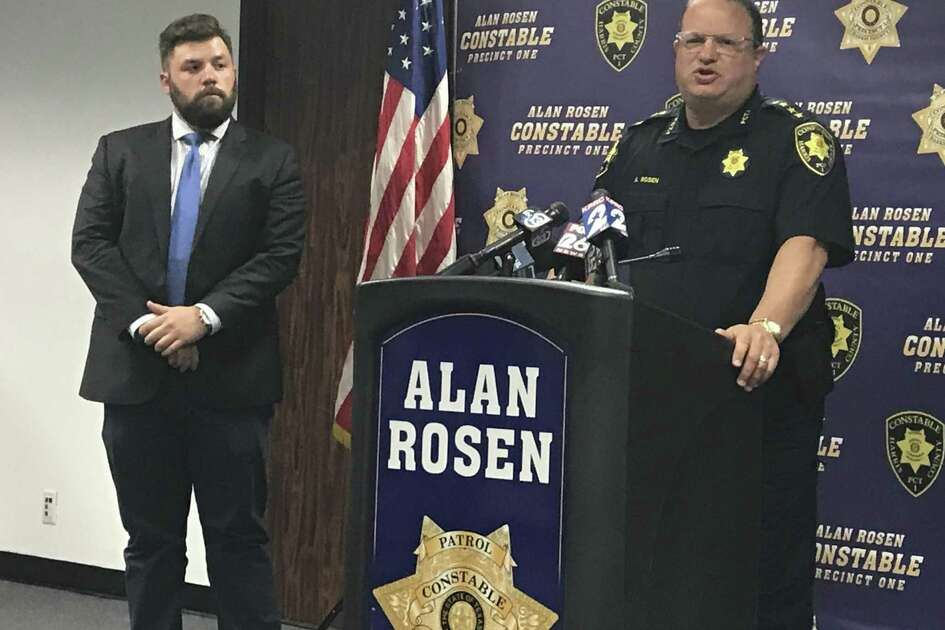 Assistant District Attorney Luke Baty, left, and Harris County Precinct 1 Constable Alan Rosen talk to reporters Tuesday, Oct. 23, 2018, about the arrest of accused pimp Mark Anthony Cole. Cole was arrested after an undercover operation and is charged with arranging for prostitutes and drugs for a bachelor party at The Post Oak Hotel near the Galleria.
