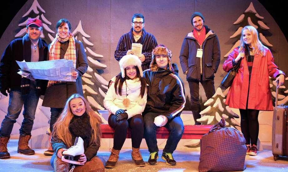 "The Goshen Players' production of ""Almost, Maine,"" opens at the old Goshen Town Hall theater on Saturday, Oct. 26. From left, the cast of ""Almost, Maine,"" includes David Macharelli, Kristen Moresi, Rhiannon Carta, Stephanie Renzullo, Daniel Dressel, Samuel Man, Ethan Parsons and Devon Richtmeyer. Photo: Sarah Kozma / Contributed Photo"