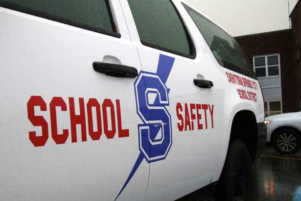 A district safety officer's vehicle is parked outside Saratoga Springs High School during the Saratoga Springs School District's Board of Education meeting Tuesday, October 23, 2018. (Ed Burke photo-Special to The Times Union)