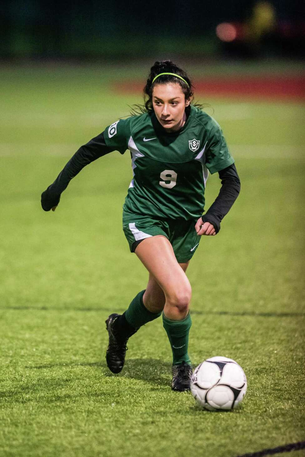 Schalmont's Sofia Cassano looks for an opening against Voorheesville as the class b girls' soccer semifinals were held at Lansingburgh High School in Troy, NY Tuesday, October 23rd, 2018. Photo by Eric Jenks for the Times Union