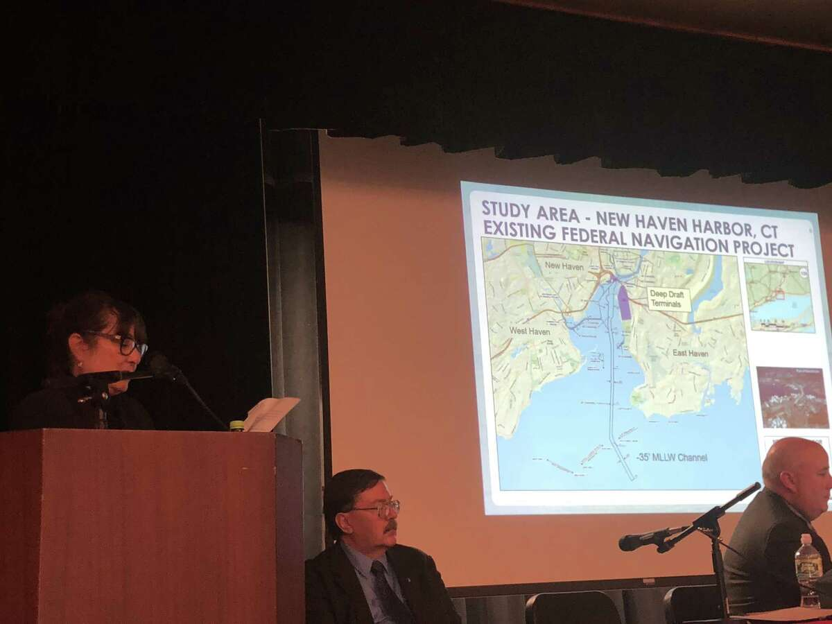 Barbara Blumeris, project manager with the Army Corps ofEngineers New England District, explains a plan to dredge the shipping channel in New Haven Harbor on Tuesday at Bailey Middle School in West Haven.