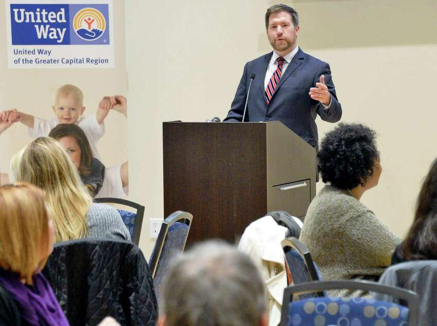 Peter Gannon, president and CEO of United Way of the Greater Capital Region speaks during a presentation to community stakeholders and local non-profit agencies of the updated United Way of NYS ALICE data and the ?challenging trends in the Capital Region Tuesday Oct. 23, 2018 in Albany, NY. (John Carl D'Annibale/Times Union)