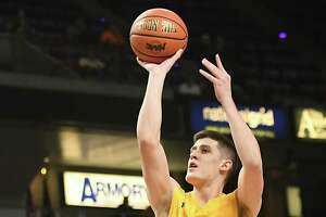 Siena's Thomas Huerter takes a shot during a first-round MAAC basketball game against Quinnipiac at the Times Union Center on Thursday, March 1, 2018 in Albany N.Y. (Lori Van Buren/Times Union)