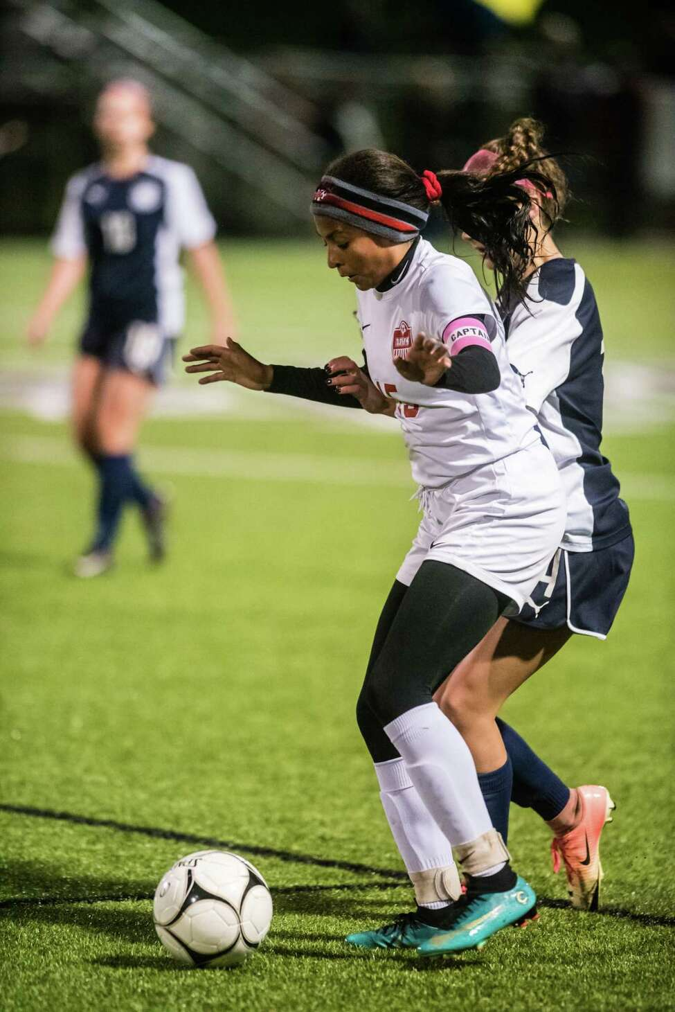 Mechanicville's Jada Brown handles the ball during the game against Academy of Holy Names as the class b girls' soccer semifinals were held at Lansingburgh High School in Troy, NY Tuesday, October 23rd, 2018. Photo by Eric Jenks for the Times Union