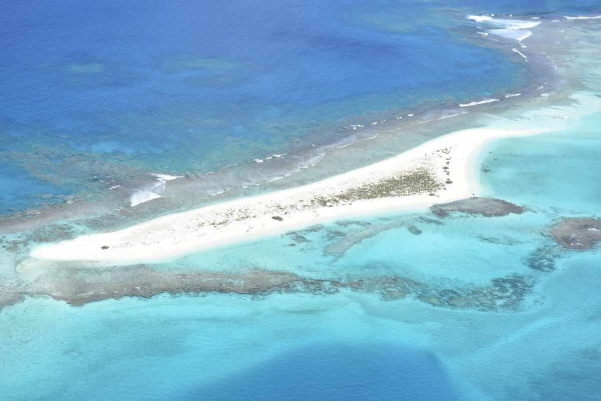 This photo provided by the U.S. Fish and Wildlife Service shows French Frigate Shoals (the chain of islands where East Island is located) before Hurricane Walaka.