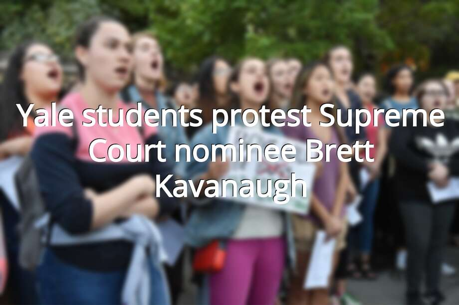 Yale University students held a rally at the Women's Table on campus protesting the appointment of Judge Brett Kavanaugh to become an Associate Justice of the Supreme Court due to allegations of misconduct. Photo: Catherine Avalone