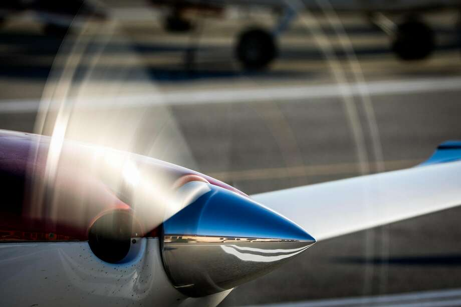 A propeller spins as a plane readies to take off at the San Carlos airport. Photo: Gabrielle Lurie / The Chronicle