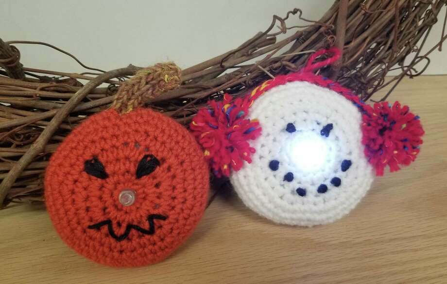 In Sheeps Clothing is offering a free crochet craft class this Sunday, Oct. 28, to make an adorable lighted snowman or a charming pumpkin face. Photo: Ginger Balch / Contributed Photo /