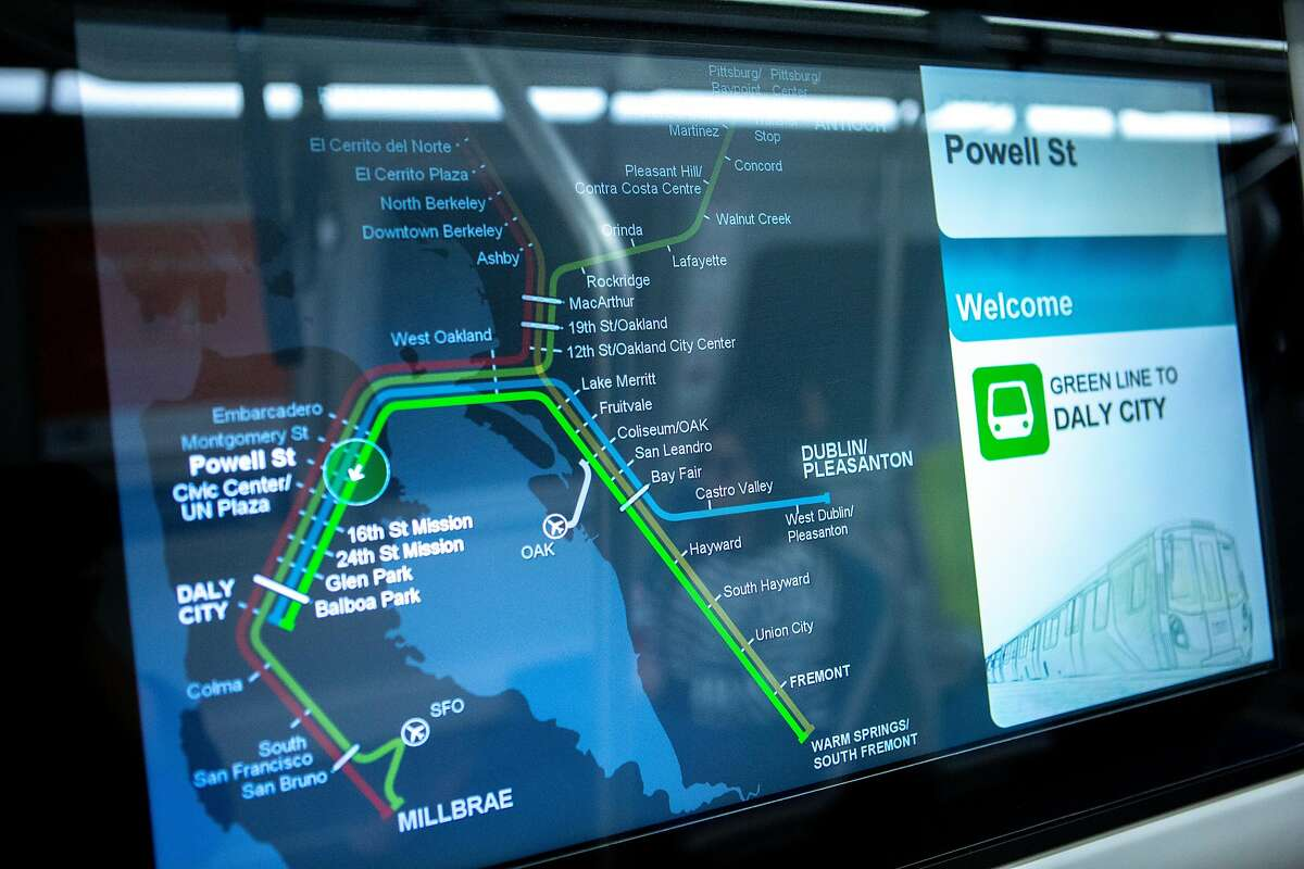 The digital map on a new BART train that made a stop at the Powell Street Station on Wednesday, Oct. 24, 2018, in San Francisco, Calif. After many delays, BART has begun running its new trains on complete routes from the East Bay to stations in San Francisco and Daly City.