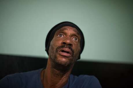 """""""Snoop Dog,"""" 58, has been homeless for 3-years and spends his night in a chair at the United Council of Human Services or Mother Brown's on Friday, Oct. 5, 2018, in San Francisco, Calif. The drop-in center only has chairs, no beds or mats, so people have to sit in chairs all night. Photo: Paul Kuroda / Special To The Chronicle"""