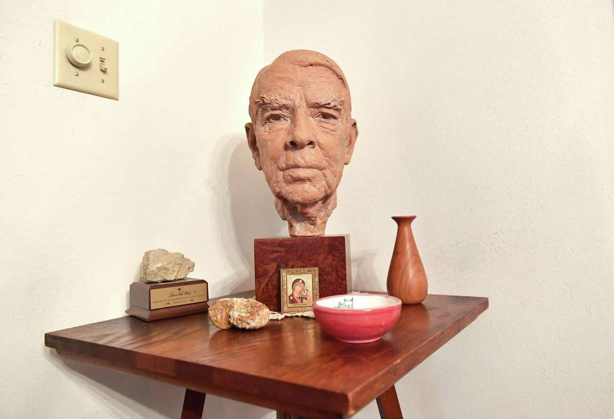A bust of the late Andre Tchelistcheff is seen in the home of his widow, Dorothy Tchelistcheff, at her home in Napa on Oct. 12, 2018.