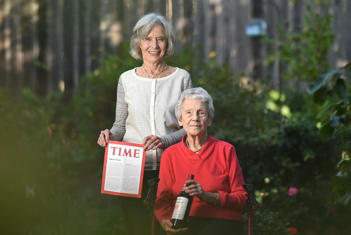 Joanne DePuy (L) stands for a photo with Dorothy Tchelistcheff (R) in Napa, California on October 12, 2018.