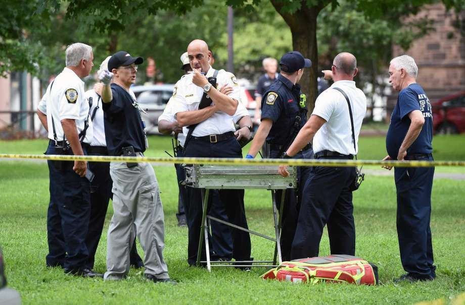 Emergency personnel respond to overdose cases on the New Haven Green. Photo: Photo: Arnold Gold / Hearst Connecticut Media