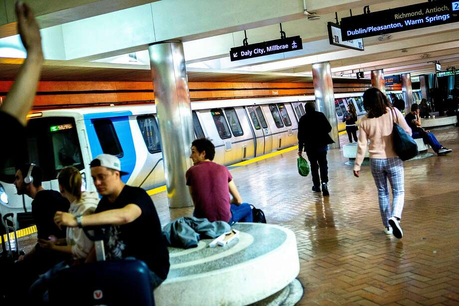 A new BART train makes a stop at the Powell Street Station on Wednesday, Oct. 24, 2018, in San Francisco, Calif. After many delays, BART has begun running its new trains on complete routes from the East Bay to stations in San Francisco and Daly City. Photo: Santiago Mejia / The Chronicle