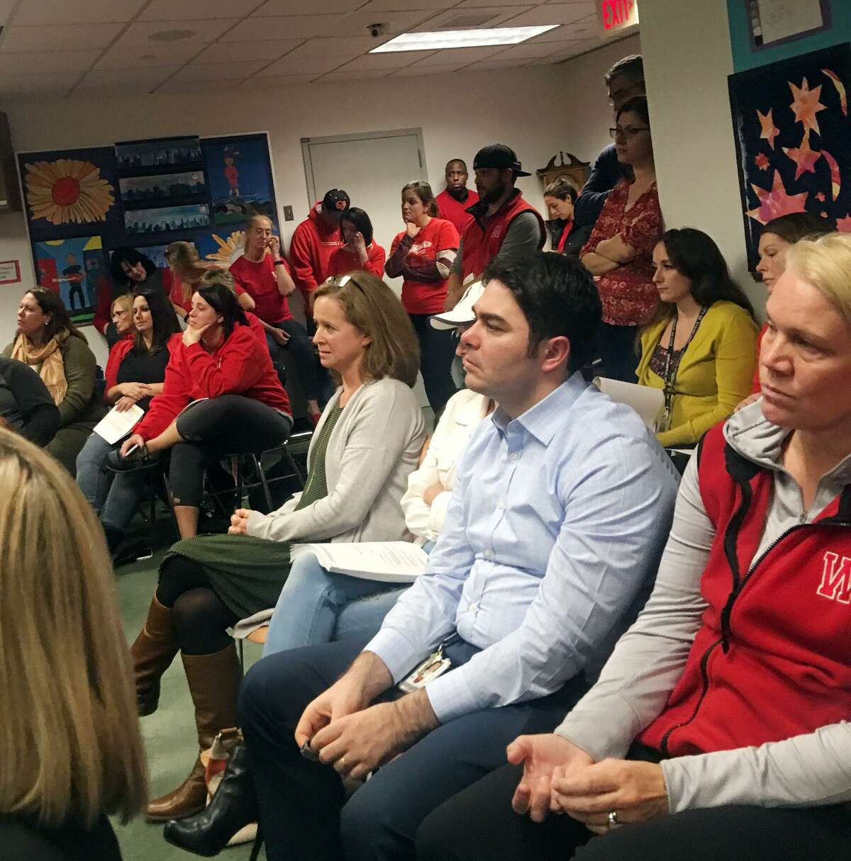 Parents and staff from Westover Magnet Elementary School showed up to a Board of Education meeting on Oct. 23, 2018 in Stamford, Conn. to complain about the issues caused by pervasive mold in the building.