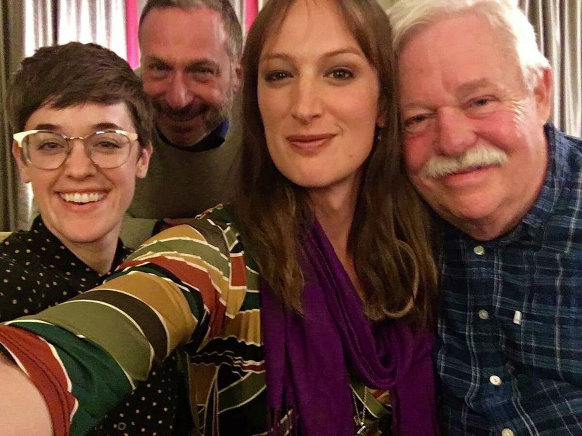 Producers Lauren Morelli, Alan Poul and Jen Richards with Tales of the City author Armistead Maupin (right).
