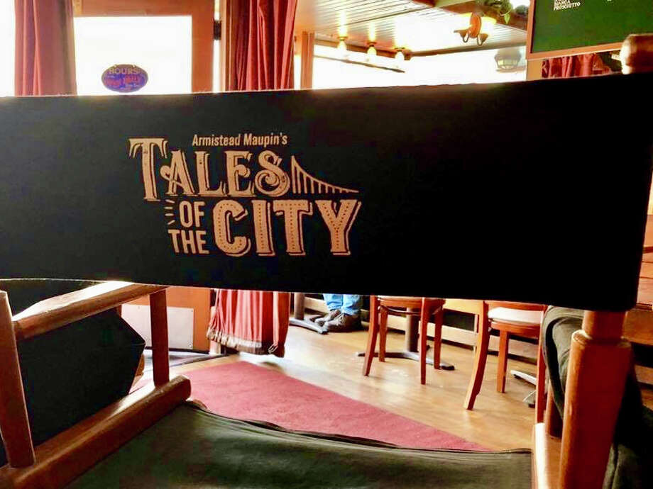 Tales of the City cast chairs at Chow on Tuesday, October 23. Netflix miniseries 'Armistead Maupin's Tales of the City' films in Dolores Park today. Photo: Hoodline