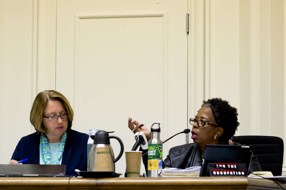 "Councilwoman Cheryl Davila (on the right): ""I've tolerated a lot of disrespect on this dais."" Photo: Emilie Raguso/Berkeleyside / 2018"