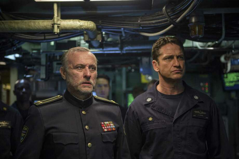 "Michael Nyqvist, left, and Gerard Butler in a scene from ""Hunter Killer."" Photo: Jack English, HONS / Associated Press / Lionsgate"