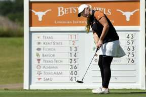Texas Longhorns freshman golfer Hailee Cooper, a 2018 graduate of Montgomery High School, is shown during a tournament this past fall. Cooper finished fourth individually at the NCAA Tournament earlier this week and as selected first-team All-American by the WGCA.