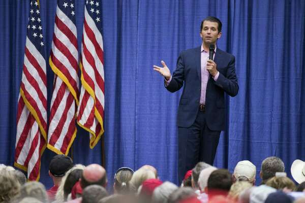 Donald Trump Jr. addresses a rally for U.S. Sen. Ted Cruz, R-Texas, in Wichita Falls, Texas.