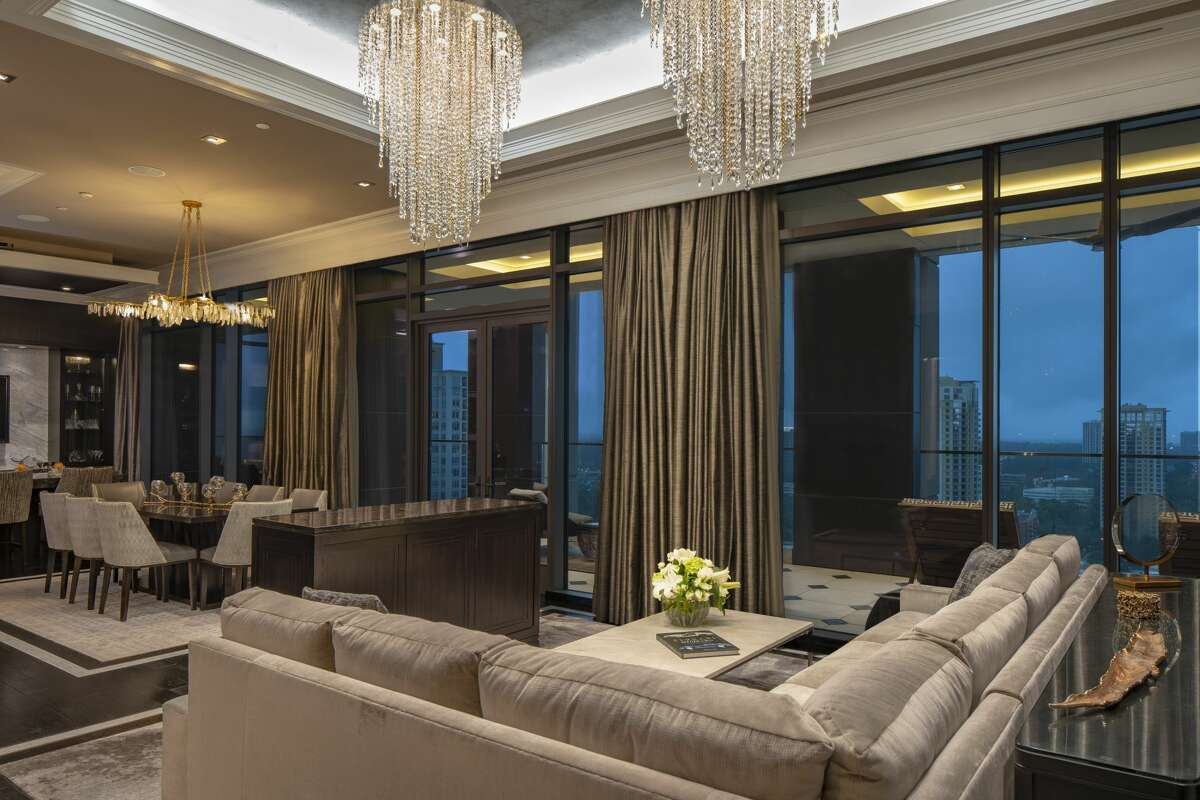 The presidential suite has two-bedrooms, a private office, fitness room, living room, and dining room Presidential suite at Post Oak Hotel. >>> Click to see photos of Tilman Fertitta's empire.
